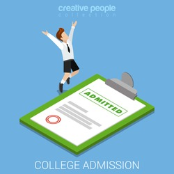 College school admission letter decision certificate invite flat 3d isometry isometric concept web vector illustration. Schoolboy happy jump before big paper. Creative people collection.