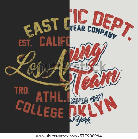 College Sliced Half Part T-shirt and apparels Mix and Match Spliced Print graphic design Varsity Tee. College Sliced Vintage style t-shirt typography vector.
