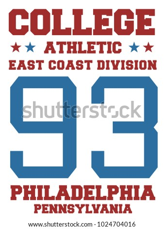 College sports team jersey design - athletic t-shirt. East coast - Philadelphia, Pennsylvania.