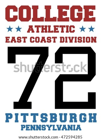 College sports team jersey design - athletic t-shirt. East coast - Pittsburgh, Pennsylvania.
