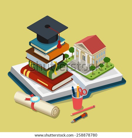 College university education graduation flat 3d web isometric infographic concept template vector. Heap of book graduate cap on top open book license stationery. Creative conceptual collection.