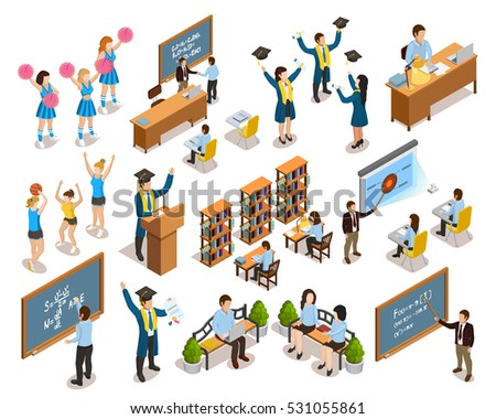 College university students writing on blackboard studying in library cheerleading and graduating isometric icons collection vector illustration