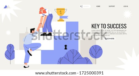 Collegues or business partners climb steps leading to success in business. Concept of career or corporate ladder,  startup success, leadership, teamwork or teambulding for web banner or page, ui.