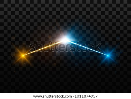 Collision of two forces with yellow and blue lights. Explosion concept. Isolated on black transparent background. Vector illustration, eps 10.