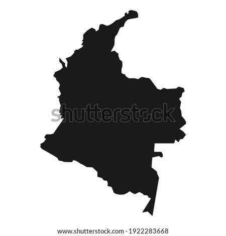 Colombia black map on white background Stock fotó ©
