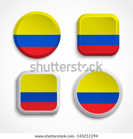 Colombia flag buttons, vector illustration