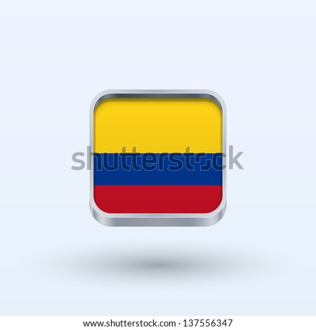 Colombia flag icon square form on gray background. Vector illustration.