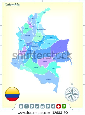 Colombia Map with Flag Buttons and Assistance & Activates Icons Original Illustration