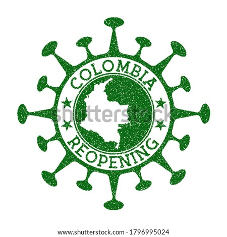Colombia Reopening Stamp. Green round badge of country with map of Colombia. Country opening after lockdown. Vector illustration. Photo stock ©