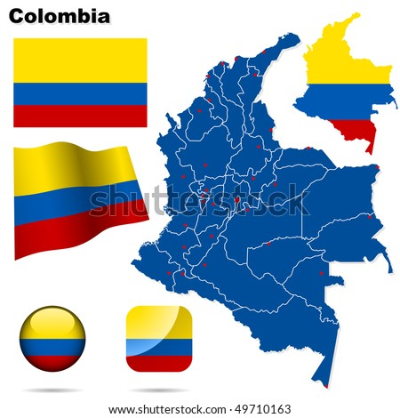 Colombia vector set. Detailed country shape with region borders, flags and icons isolated on white background.