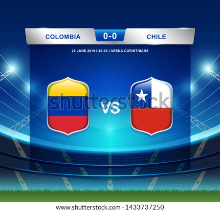 Colombia vs Chile scoreboard broadcast template for sport soccer south america's tournament 2019 round quarter finals and football championship vector illustration