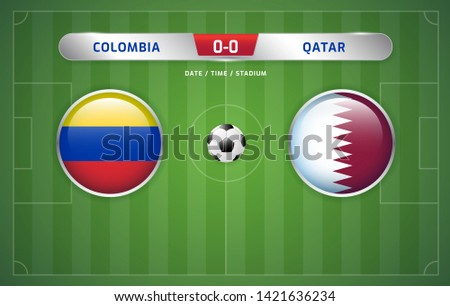 Colombia vs Qatar scoreboard broadcast template for sport soccer south america's tournament 2019 group B and football championship vector illustration