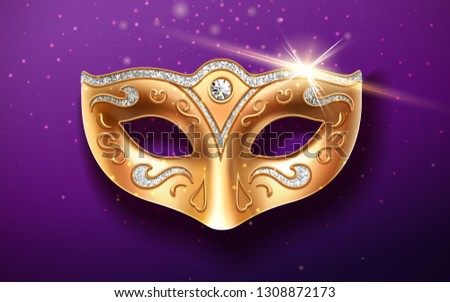Colombina golden mask decorated with diamonds. Holiday masquerade masque or decoration for face at theater, opera. Part of italian or brazil festival costume. Fashion and entertainment theme