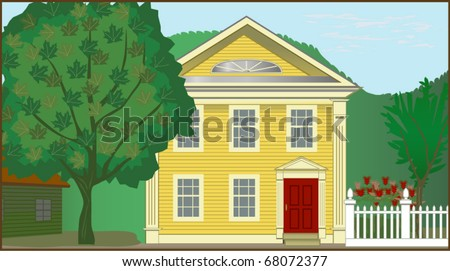 Colonial House - Detailed illustration of 1700s Colonial house in rural setting