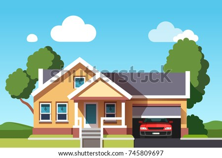 Colonial neo classical architecture style mansion cottage building. Suburban house with car garage. Flat style vector illustration isolated on blue background.