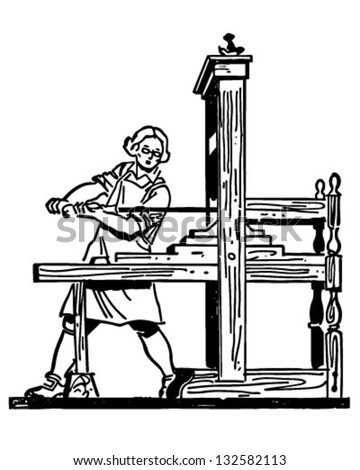 Colonial Printing Press - Retro Clip Art Illustration