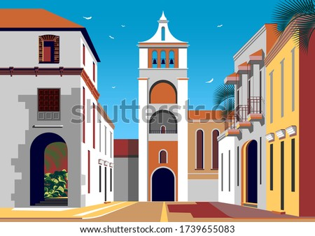 Colonial spanish style street with historic buildings and a church with a bell tower in the background. Handmade drawing vector illustration. Retro style poster. Foto stock ©