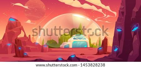 Colonization of planet, space station, bunker, scientific laboratory building under transparent spherical dome on alien fantasy craters landscape background, computer game, cartoon vector illustration