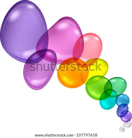 Color abstract with transparent bubbles and drops. Vector background.