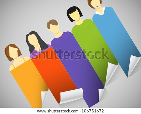 Color account avatars with bending paper banners. Template for a text