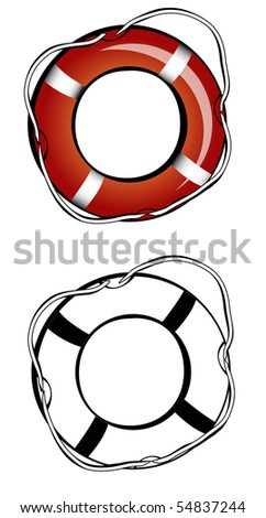 Color and black and white life buoy