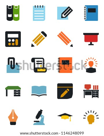 Color and black flat icon set - book vector, graduate, desk, notepad, presentation board, pencil, contract, microscope, calculator, notes, copybook, paper clip, ink pen, shining head #1146248099