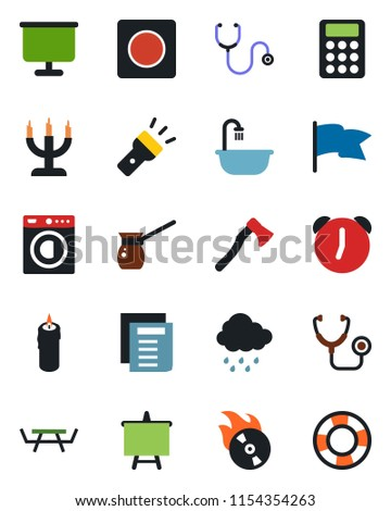 color and black flat icon set
