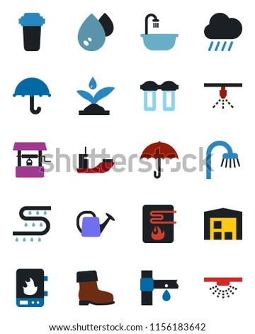 Color and black flat icon set - watering can vector, boot, rain, well, drip irrigation, sea shipping, umbrella, warehouse, bathroom, water heater, filter, sprinkler