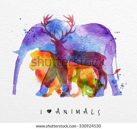 color animals  elephant  deer
