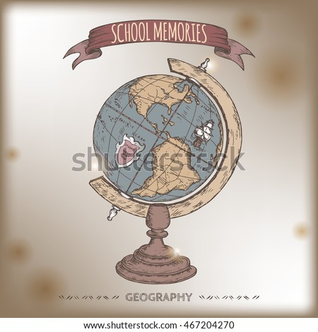 color antique globe hand drawn