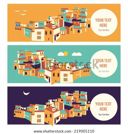 color Arab town of seasons day and night