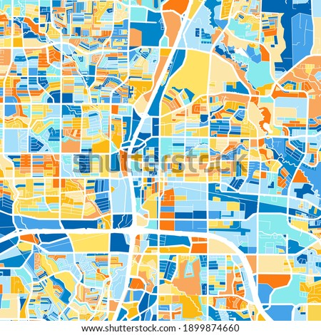 Color art map of  Plano, Texas, UnitedStates in blues and oranges. The color gradations in Plano   map follow a random pattern. Foto stock ©
