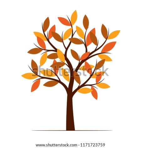 Color Autumn Tree. Vector Illustration. Plant in garden.