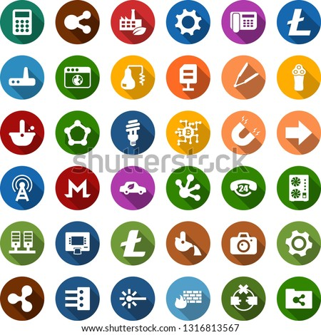 Color back flat icon set - distilizer vector, antenna, camera, electric razor, hair iron, ripple sign, litecoin, monero, mining equipment, bitcoin chip, blockchain molecule, eco factory, bulb, car