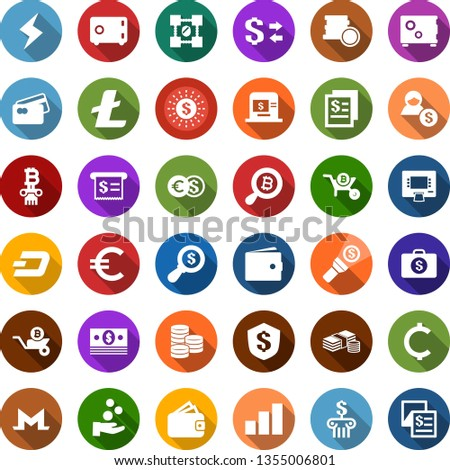 Color back flat icon set - wallet vector, litecoin sign, dash, monero, storm, growth graph, bitcoin search, blockchain shield, wheelbarrow, column, cash, euro, cent, coin, dollar exchange, safe, sun #1355006801