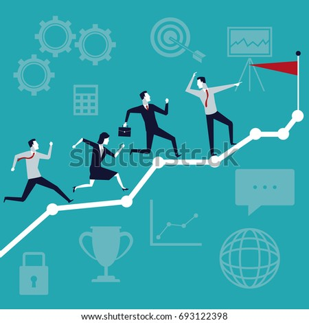 color background business growth with executive team running to top flag