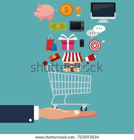 color background scene of executive sleeve hand holding a shopping cart with items floating