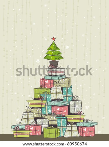 color background with christmas present and one tree,  vector illustration