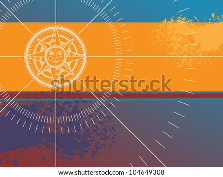 Color background with compass rose, vector illustration