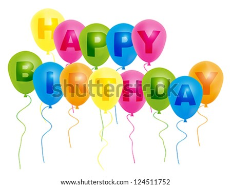 Color Balloons With With Happy Birthday Sign Isolated on White Background