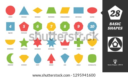Color basic simple silhouette shapes glyph icon set with Geometric figures: circle, triangle, square, pentagram, hexagram, octagram, crown, cross and heart.