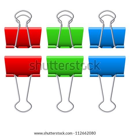 Color binder clips. Illustration on white background