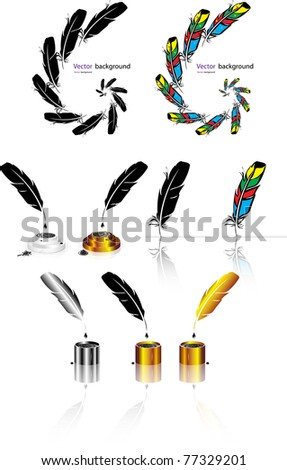 Color, black-and-white feather backgrounds. Vector format