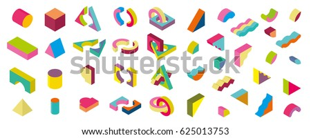 color blocks isometric Color Design elements in the Memphis style, 3d