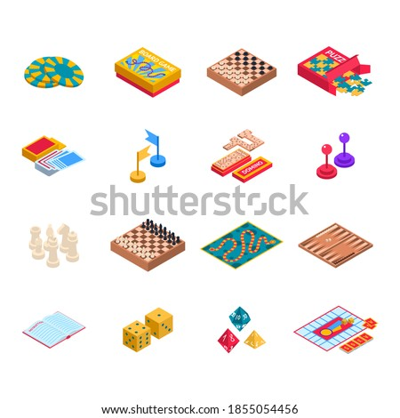 Color Board Games Icons Set 3d Isometric View Include of Domino, Chess, Dice and Puzzle. Vector illustration of Icon Photo stock ©