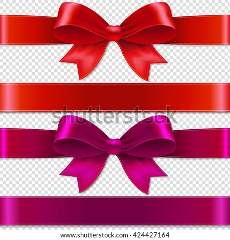 Color Bows Isolated Isolated on Transparent Background, With Gradient Mesh, Vector Illustration #424427164