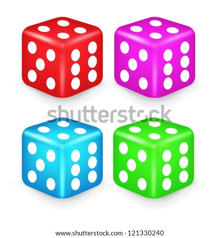 Color Box Dice 3D Illustration. Vector