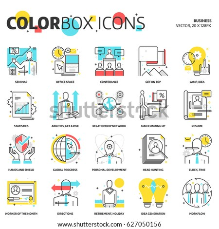 Color box icons, business illustrations, icons, backgrounds and graphics. The illustration is colorful, flat, vector, pixel perfect, suitable for web and print. Linear stokes and fills.