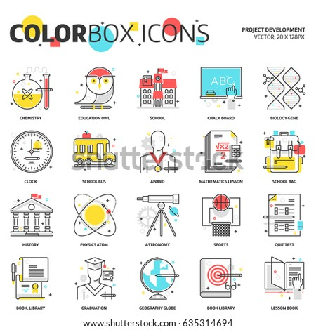 Color box icons, education icons, backgrounds and graphics. The illustration is colorful, flat, vector, pixel perfect, suitable for web and print. Linear stokes and fills.