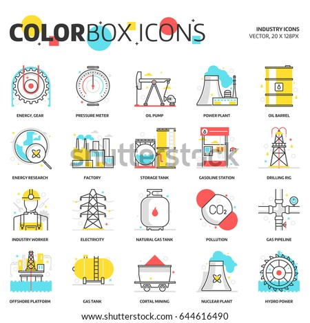 Color box icons, energy industry backgrounds and graphics. The illustration is colorful, flat, vector, pixel perfect, suitable for web and print. Linear stokes and fills.